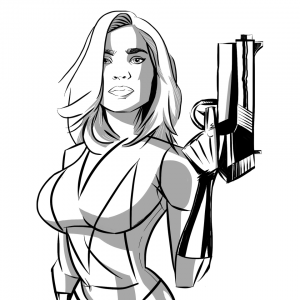 woman w/ big gun b&w