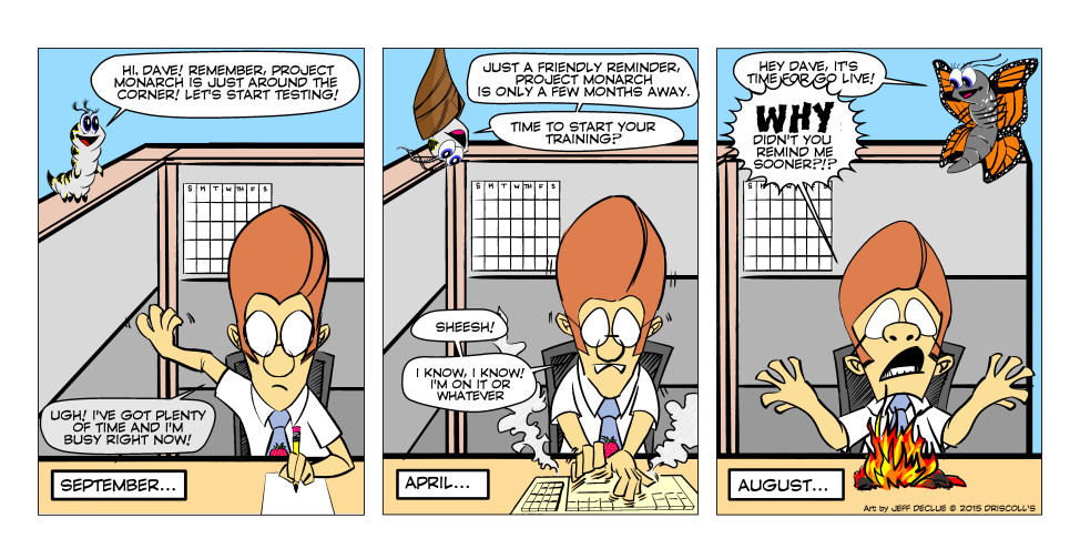 """Um, Dilbert? Who's that? Clearly this is a totally original character, an awkward bespectacled office worker who wears a tie and short-sleeved shirt. I see no similarities to this """"Dilbert"""" character you speak of."""